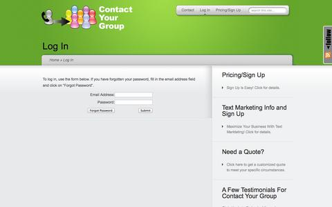 Screenshot of Login Page contactyourgroup.com - Log In   Contact Your Group - captured Oct. 2, 2014