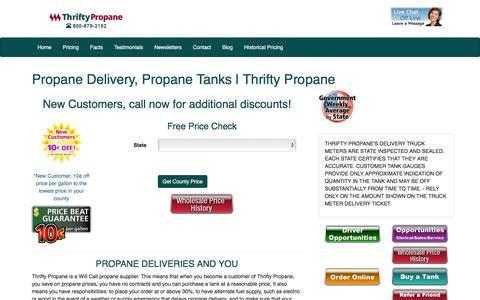 Screenshot of Home Page thriftypropane.com - Propane Delivery, Propane Tanks | Thrifty Propane - captured Sept. 5, 2016