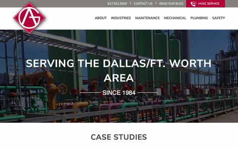 Screenshot of Case Studies Page agpiping.com - Case Studies | A&G Mechanical Contractors - captured Sept. 25, 2018