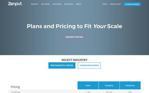 Screenshot of Pricing Page zenput.com - Pricing | Zenput - captured Oct. 13, 2017