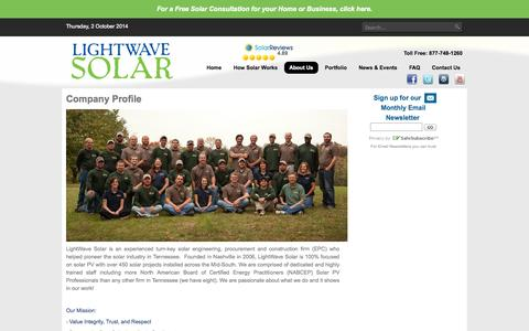 Screenshot of About Page lightwavesolar.com - About Us - captured Oct. 2, 2014