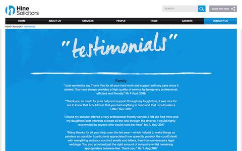 Screenshot of Testimonials Page hinesolicitors.com - Testimonials Archive - Hine Solicitors - captured July 20, 2018