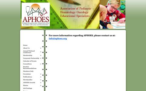 Screenshot of Contact Page wildapricot.org - Association of Pediatric Hematology Oncology Educational Specialists - Contact - captured Sept. 22, 2014