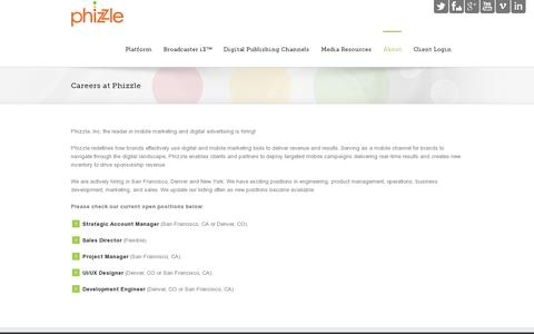 Screenshot of Jobs Page phizzle.com - Phizzle   –  Careers at Phizzle - captured July 20, 2014