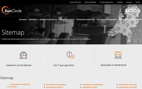 Screenshot of Site Map Page suncircle.nl - Vind SunCircle dealers in ons landelijke dealernetwerk! - captured Oct. 20, 2018