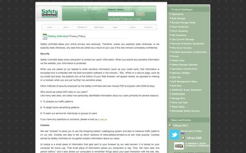 Screenshot of Privacy Page safetyunlimited.co.uk - Safety Unlimited - Privacy - captured Sept. 30, 2014