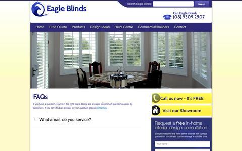 Screenshot of FAQ Page eagleblinds.com.au - FAQs   Eagle Blinds - captured May 11, 2016