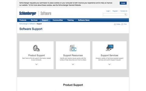 Screenshot of Support Page slb.com - Software Support - captured Nov. 11, 2015
