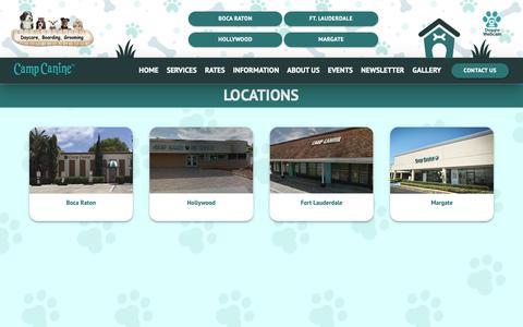 Screenshot of Contact Page Locations Page campcanineflorida.com - Camp Canine - captured Dec. 14, 2018
