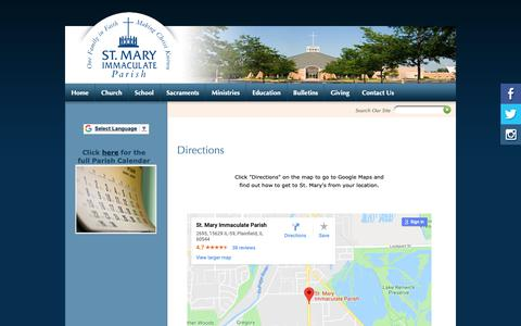 Screenshot of Maps & Directions Page smip.org - St Mary Immaculate Parish: Directions - captured Oct. 18, 2018