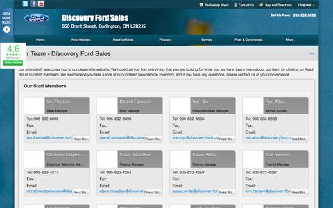 Screenshot of Team Page dealerconnection.com - Our Team at Discovery Ford Sales - Your Burlington, Ontario Ford dealer - captured Sept. 19, 2014