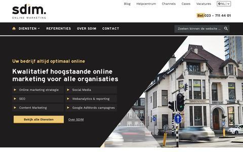 Screenshot of Home Page sdim.nl - Online Marketing bureau SDIM - captured Sept. 9, 2019