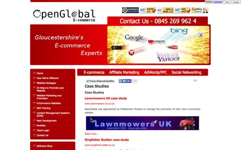 Screenshot of Case Studies Page openglobal.co.uk - Case Studies - OpenGlobal E-commerce - captured Sept. 25, 2014