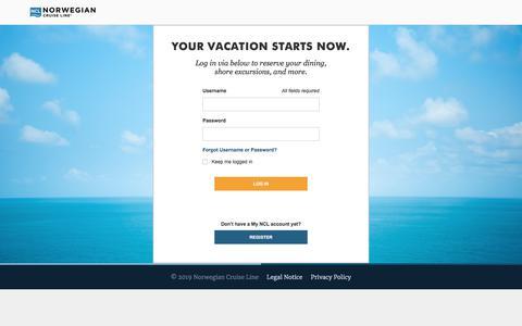 Screenshot of Login Page ncl.com - Cruises & Cruise Deals | Caribbean Cruise Vacations | Norwegian Cruise Line - captured Jan. 23, 2020