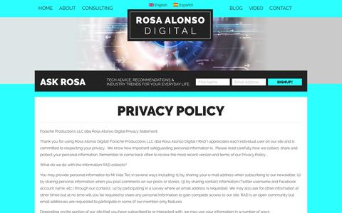 Screenshot of Privacy Page rosaalonsodigital.com - Privacy Policy - Rosa Alonso Digital Rosa Alonso Digital - captured March 18, 2016