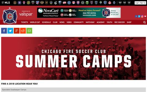 Screenshot of Locations Page chicago-fire.com - Summer Camps | Locations | Chicago Fire - captured July 10, 2018