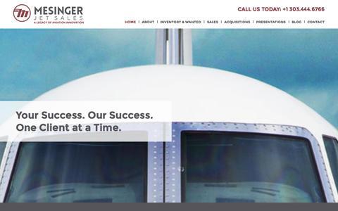 Screenshot of Home Page jetsales.com - A Legacy of Aviation Innovation | Mesinger Jet Sales - captured Oct. 6, 2014
