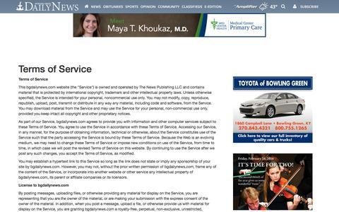 Screenshot of Terms Page bgdailynews.com - Terms of Service | Site | bgdailynews.com - captured Jan. 15, 2016