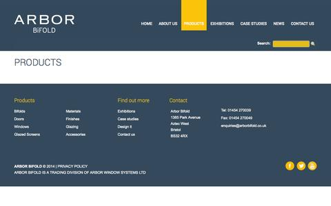 Screenshot of Products Page arborwinsys.co.uk - Arbor Bifold Products - captured Oct. 4, 2014