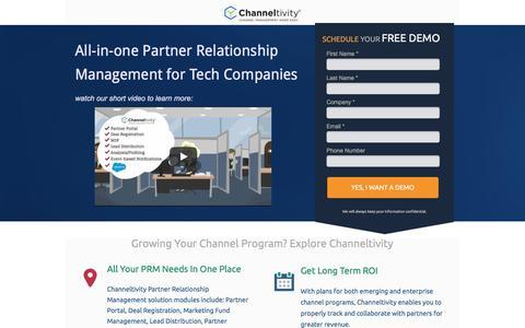 Screenshot of Landing Page channeltivity.com - Channeltivity Partner Relationship Management - captured March 3, 2018