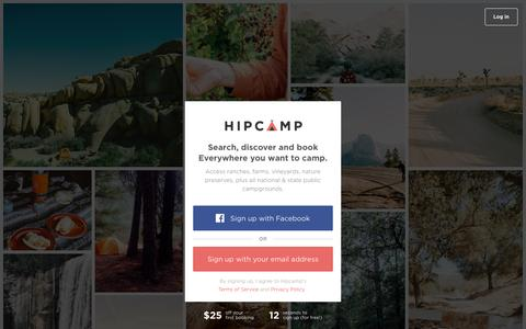 Screenshot of Signup Page hipcamp.com - Sign up and access ranches, farms, vineyards, nature preserves...   Hipcamp - captured Dec. 8, 2015