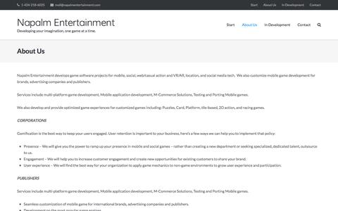Screenshot of About Page napalmentertainment.com - About Us - Napalm Entertainment - captured Aug. 17, 2016