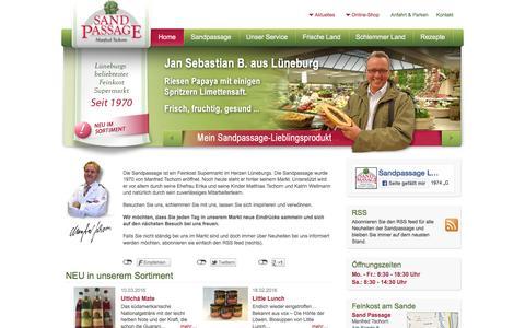 Screenshot of Home Page sandpassage.de - Delikatessen und Feinkost in Lüneburg - Sandpassage - Manfred Tschorn - captured June 9, 2016