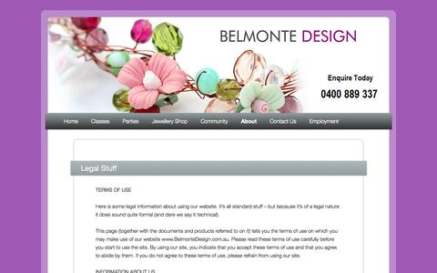 Screenshot of Terms Page belmontedesign.com.au - Legal Stuff | Jewellery making courses and workshops | Fun childrens parties and ideas at Belmonte Design Sydney - captured Sept. 30, 2014