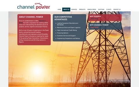 Screenshot of About Page channelpowerltd.com - About Us - Channel Power - captured March 3, 2016