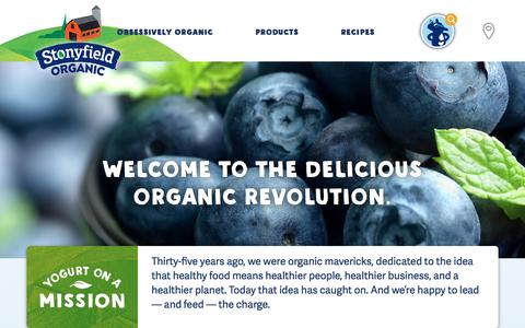 Screenshot of Home Page stonyfield.com - Organic Yogurt, Greek Yogurt, Recipes, and Organic Living - Stonyfield - captured Jan. 12, 2018