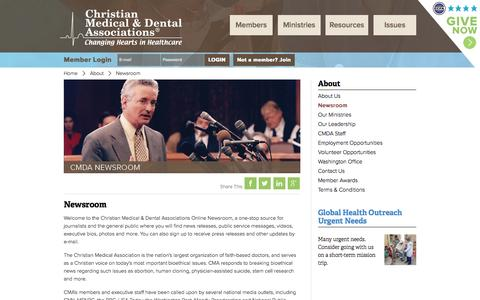 Screenshot of Press Page cmda.org - Newsroom : About : Christian Medical & Dental Associations - captured Oct. 2, 2014