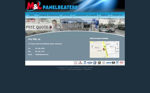 Screenshot of Contact Page mlpanelbeaters.co.za - M&L Panelbeaters - captured Sept. 30, 2014
