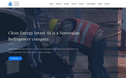 Screenshot of Home Page cleanenergyinvest.no - Clean Energy Invest AS - a Norwegian hydropower company - captured Nov. 7, 2016