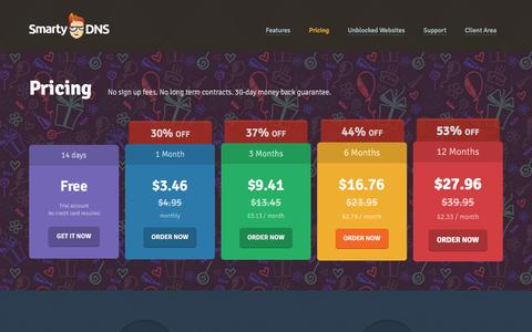 Screenshot of Pricing Page smartydns.com - Buy Smart DNS. SmartyDNS plans and pricing - captured Feb. 15, 2016