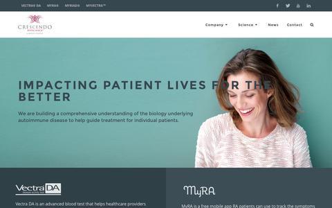 Screenshot of Home Page crescendobio.com - Crescendo Bioscience - Molecular Diagnostics | Home - captured Nov. 12, 2016