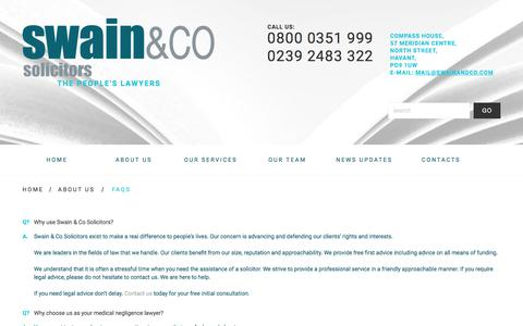 Screenshot of FAQ Page swainandco.com - FAQs - Swain & Co Solicitors - Havant/Portsmouth, Southampton, Liverpool - The people's lawyersSwain & Co Solicitors – Havant/Portsmouth, Southampton, Liverpool - captured April 25, 2018