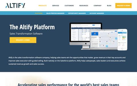 Screenshot of Products Page altify.com - Sales Transformation Software | Sales Platform | Altify | Increase Your Sales Potential - captured Nov. 12, 2018