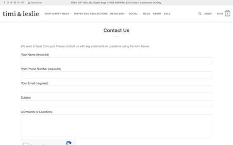 Screenshot of Contact Page timiandleslie.com - Contact Us | timi & leslie Diaper Bags | Baby Bags For Stylish Moms - captured Sept. 28, 2018
