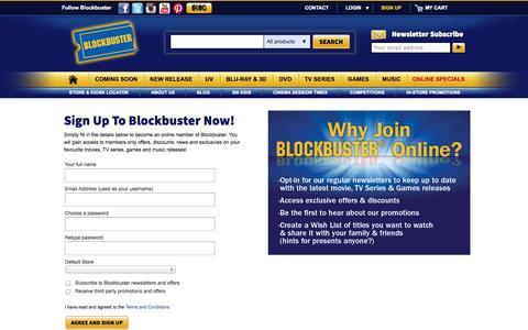 Screenshot of Signup Page blockbuster.com.au - Login | My Account | Blockbuster - captured Sept. 22, 2014