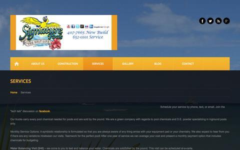 Screenshot of Services Page signaturepoolsonline.com - Services  |  Signature Pools - captured Oct. 7, 2014