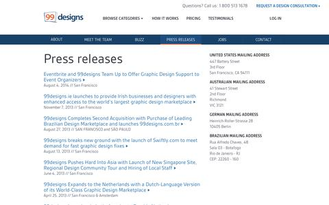 Screenshot of Press Page 99designs.com - Press releases | 99designs - captured Sept. 10, 2014