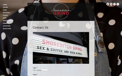 Screenshot of Contact Page shoreditchgrind.com - Contact — Shoreditch Grind - captured Oct. 3, 2014