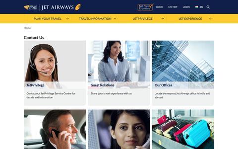 Screenshot of Contact Page jetairways.com - Contact Jet Airways and JetPrivilege - captured Aug. 7, 2016