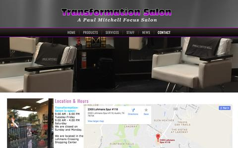 Screenshot of Hours Page transformationsalon.com - Transformation Salon Services in Lakeway, TX - Location & Hours - captured June 19, 2017