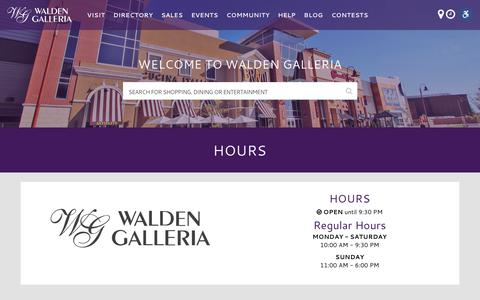 Screenshot of Hours Page waldengalleria.com - Hours - Walden Galleria - captured July 2, 2018