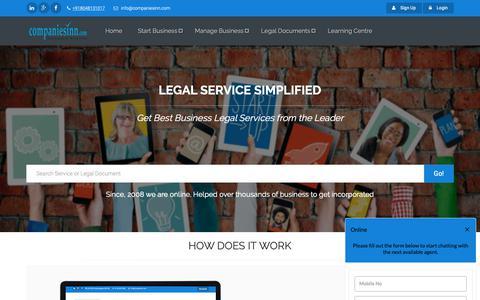 Screenshot of Home Page companiesinn.com - CompaniesInn - India's First and Largest Startup Legal Service Provider - captured Dec. 12, 2018