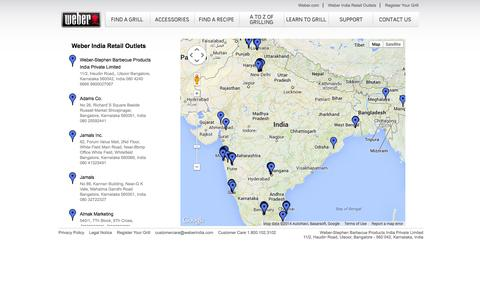 Screenshot of Maps & Directions Page weberindia.com - Weber India Retail Outlets - captured Oct. 1, 2014