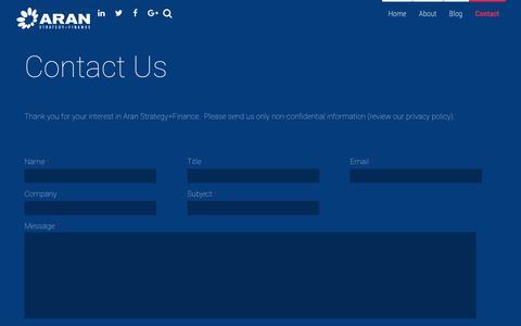 Screenshot of Contact Page aransf.com - Contact - Aran Strategy+Finance - captured Oct. 4, 2018