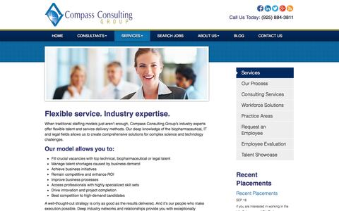 Screenshot of Services Page compasscgroup.com - Life Science Recruiters - San Francisco IT Recruiters | Compass Consulting Group - captured Oct. 2, 2014