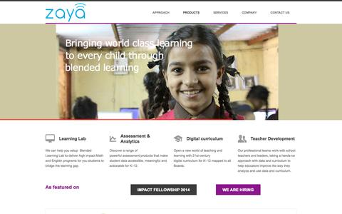 Screenshot of Home Page Products Page zaya.in - Zaya Learning | Bringing World Class Education to Every Neighborhood - captured Sept. 17, 2014